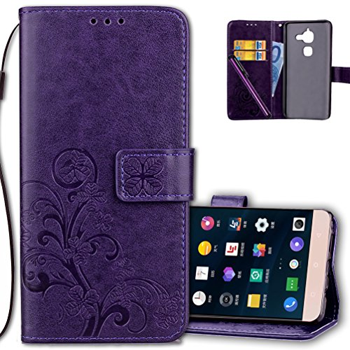 LeEco Le S3 Wallet Case Leather COTDINFORCA Premium PU Embossed Design Magnetic Closure Protective Cover with Card Slots for LeEco Le 2/LeEco Le S3 (5.5 inch). Luck Clover Purple