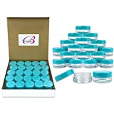 (100 Pieces Jars + Lid) Beauticom 3G/3ML Round Clear Jars with Teal Sky Blue Screw Cap Lids for Scrubs, Oils, Toner, Salves, Creams, Lotions, Makeup Samples, Lip Balms - BPA Free