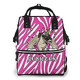 Pink Zebra Print Clipart Pug Fantasy Mochila impermeable para pañales, compartimento con dos bolsillos y ocho de almacenamiento para padres