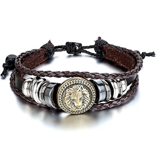 JewelryWe Schmuck Herren Damen Armband, Punk Rock Löwe Geflochten Charm Tribal Armreif, 21-30cm Verstellbaren Größen, Leder Legierung Baumwollseil, Braun Silber