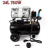 Oukaning Compresor de aire a presión, compresor de aire de 24 litros, silencioso, sin aceite, compresor de aire de 750 W 2 x...