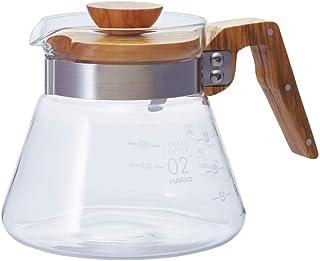 Hario 400 ml olivträ ny kaffeserver 4 Cup genomskinlig