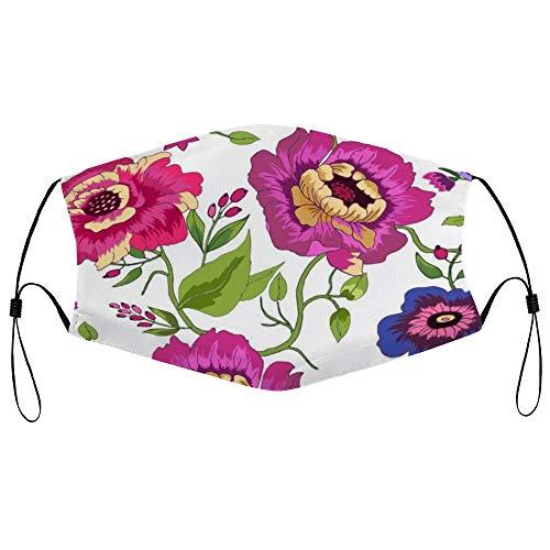 Dkisee Fashion Unisex Staubmaske mit Filterelement, verstellbare Ohrschlaufen, Gesichtsmaske, Outdoor-Schutzmaske (Aquarellblume) 05