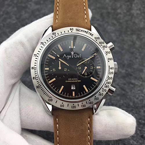 Luxury Men Automatic Meccanico MoonWatch Acciaio Inossidabile velocità Nero Blu Pelle Rosso Marrone Orologi Vetro Posteriore Limite5