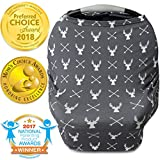 Nursing Cover, Car Seat Canopy, Shopping Cart, High Chair, Stroller and Carseat Covers for Boys or Girls- Best Stretchy Infinity Scarf and Shawl- Multi Use Breastfeeding Cover- Grey Stag