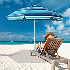 Integrated sand anchor and telescoping steel pole secures your umbrella with a simple twist Oxford fabric with UPF 50+ sun protection from 100% of intensive ultraviolet rays Durable 8 fiberglass ribs with extra strength for wind resistance; Air-vente...