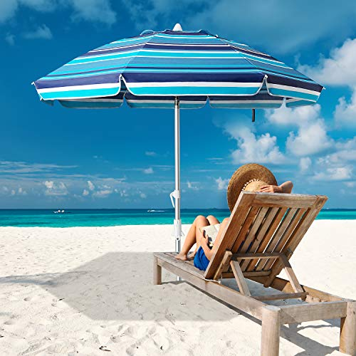 MEWAY 6.5ft Beach Umbrella with Sand Anchor & Tilt Mechanism, Portable UV 50+ Protection,Outdoor Sunshade Umbrella with Carry Bag,for Garden Beach Outdoor (Green Stripes)