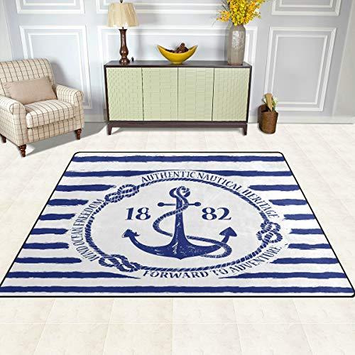 BKEOY Extra großer Teppich, blau weiß gestreift, nautischer Ankerbereich, Schlafzimmer, Wohnzimmer, Esszimmer, Küche, Fußmatte, Teppich, 160 x 122 cm bis 203 x 147 cm, Polyester, multi, 203 x 147cm