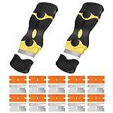XYDZ 2PCS Raschietto per Vetro, Raschietto Plastica Raschietto Multifunzione con 10 Lame in Metallo e 10 Lame in Plastica per la Rimozione di Adesivi per Etichette Vernice Vetro e Ceramica