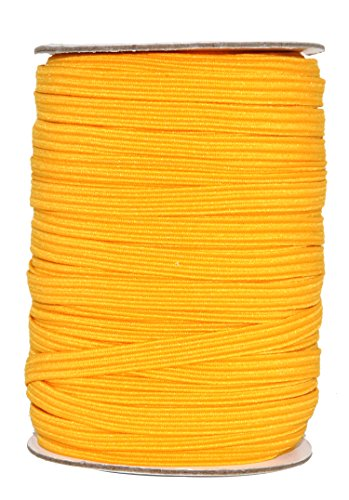 Mandala Crafts Flat Elastic Band, Braided Stretch Strap Cord Roll for Sewing and Crafting; 1/4 inch 6mm 50 Yards Gold