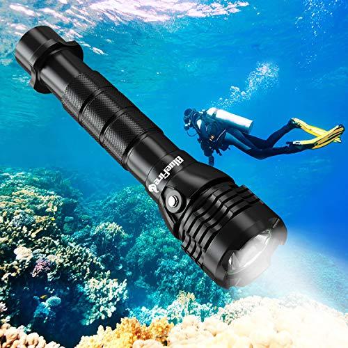 BlueFire Unterwasser Taschenlampe, 2000 Lumen XHP-50 LED Tauchlampe mit 2 * 26650 Akkus und ladegerät, Professionelle Super Hell Tauchen Taschenlampe, Unterwasser 150m Sicherheit Unterwasser Lampe