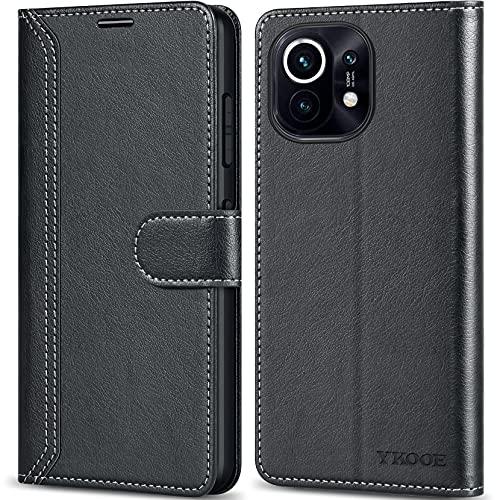 ykooe Handyhülle für Xiaomi Mi 11 Hülle, Hochwertige PU Leder Handy Schutz Hülle für Xiaomi Mi 11 Flip Tasche, Schwarz