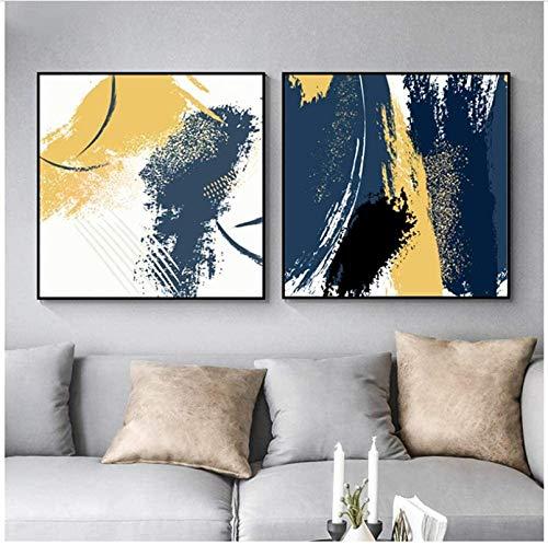 YaShengZhuangShi Leinwand Wandkunst 2x50x50cm ohne Rahmen Abstrakt Gelb Blau Schwarz Poster Wandkunst Leinwandbilder Bilder Nordic Home Decor