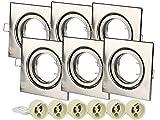 Foco LED GU10 Empotrable de 6 Puertas LEDLUX con Montaje de Foco de Resorte Ajustable (Níquel satinado, Cuadrado)