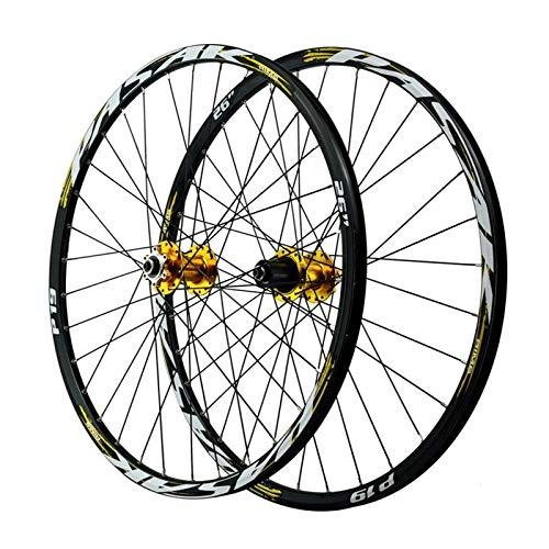 YQQQQ Juego de Ruedas de Bicicleta, Aleación de Aluminio de Doble Pared, Freno de Disco de Llanta de Montaña de 26/27,5/29 Pulgadas para Velocidades de 7/8/9/10/11 (Color : 27.5 Inch)