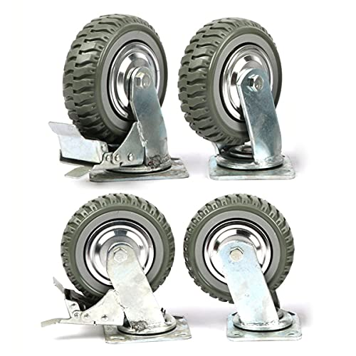 uyoyous 8 Inch Caster Wheels Set of 4 Industrial Polychloride Swivel Casters with zinc top Plate 360 Degree Rotation Under 1760lb Heavy Duty Wheel Non-Slip with Locking Brakes