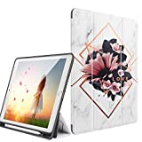 Digital Hutty New iPad 10.2 2019 Case, iPad 7th Generation 10.2 inch Tablet Case,Smart Stand Protective Cover with Auto Sleep/Wake & Pencil Holder for Girls Women (Marble)