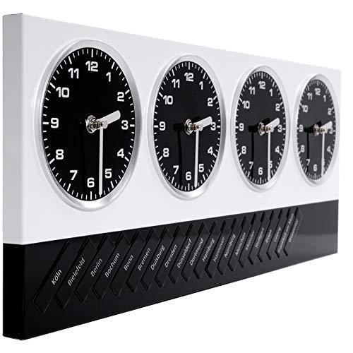 DESIGN DELIGHTS Moderne WANDUHR WELTZEITUHR | weiß-schwarz, Metall, 4 Uhrwerke, Magnete mit 20 Deutschen Städen und 7 Welt Metropolen | Bürouhr