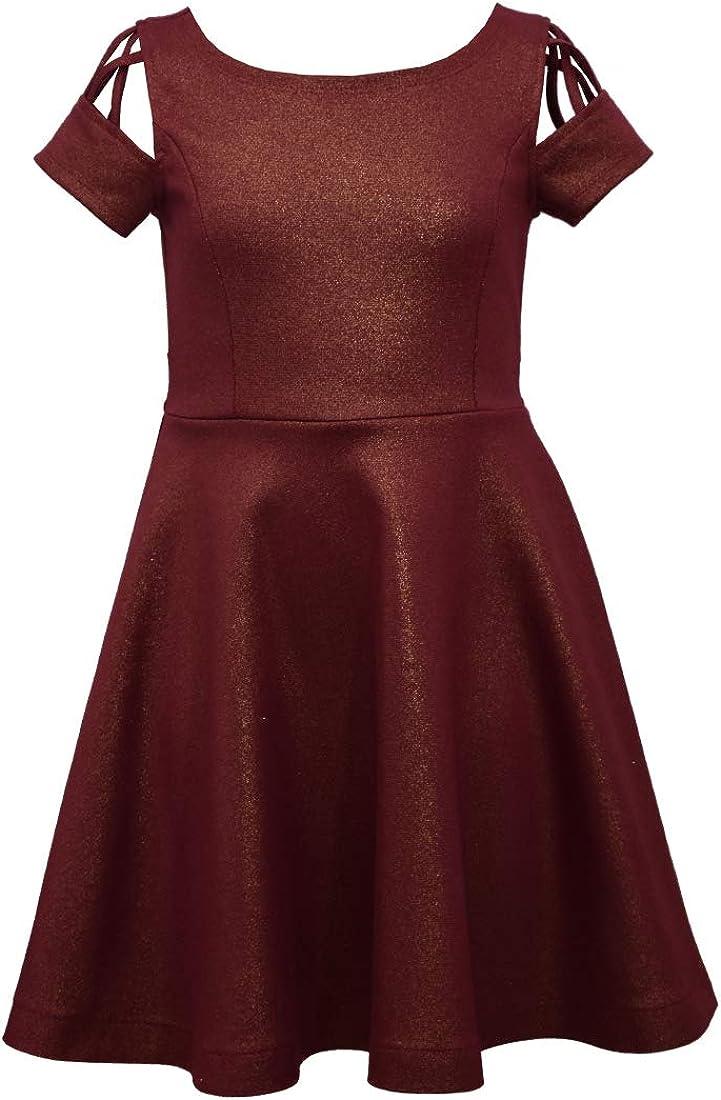 Bonnie Jean Big Girls 7-16 Short Sleeve Metallic Laser Cut Holiday Dress