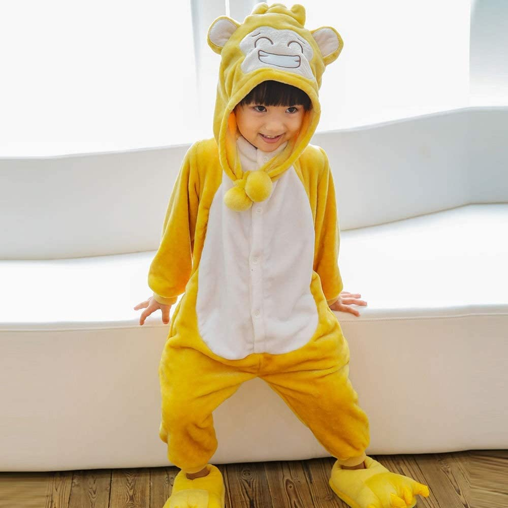 YOCO Kids Christmas Pajamas Winter Warm Flannel Dinosaur Pajamas Cartoon Animal boy Girl with hat New Children's one-Piece Pajamas (Color : Yellow, Kid Size : 9T)
