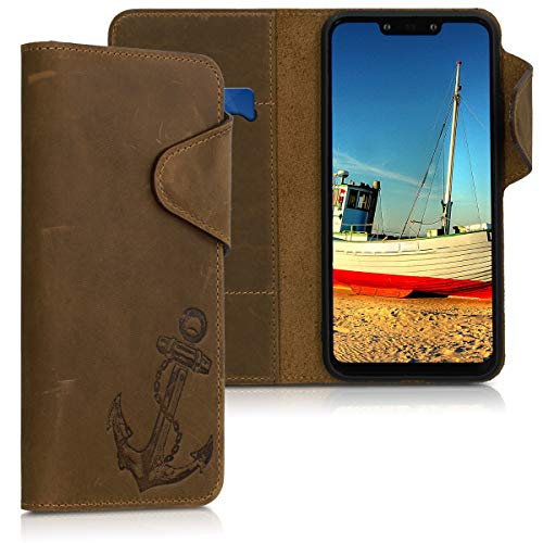 kalibri Wallet Hülle kompatibel mit Huawei Mate 20 Lite - Hülle Leder - Handy Cover Handyhülle Anker Vintage Braun