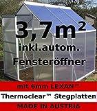 3,7m² ALU Aluminium Gewächshaus Glashaus Tomatenhaus, 6mm Hohlkammerstegplatten - (Platten MADE IN AUSTRIA/EU) mit 1 Fenster und autom. Fensteröffner von AS-S
