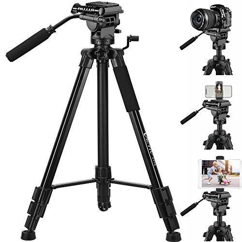 Victiv 191cm Aluminium Trépied Appareil Photo pour Canno, Nikon, Smartphone, iPhone, iPad Tablet, Charge Max 6.8 kg, avec 2 Plaques à Fixation Rapide et des Sacs