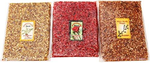 The Jerusalem Gift Shop Weihrauch & Myrrhe, Rose of Sharon, Nard, aromatisches Harz des Heiligen Landes - 3 x 3,5 oz / 100 g