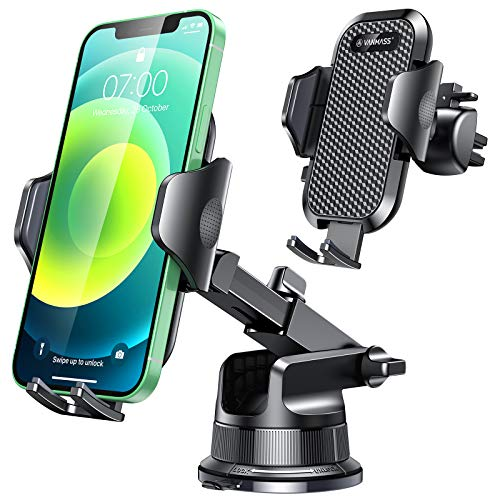 [Upgraded] VANMASS Universal Car Phone Mount [for Trip & Family & Friend] Handsfree Windshield Dash Air Vent Cell Phone Holder Car, Compatible with iPhone 12 11 Xs Max XR X SE Samsung S20 S10 Note 10