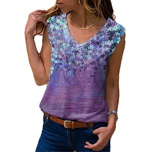 Verano de las mujeres Bottoming camisa sin mangas con cuello en V suelto casual impresión camiseta chaleco de las