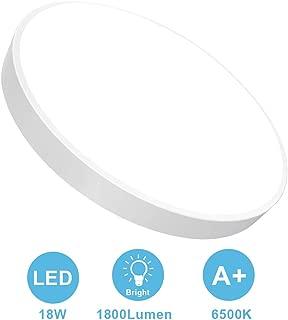 18W Flush Mount LED Ceiling Light, 11.81 Inch Ultra-Thin Round Ceiling Lamp, 1800 Lumen, 6500K Cool White Modern LED Lights for Bathroom, Kitchen, Bedroom, Living Room, Hallway (White)