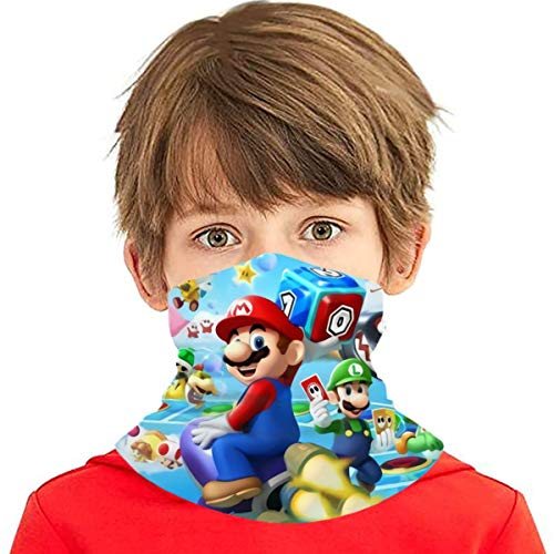 XALER Mario Kids Face Mask Bandanas, Cool Neck Gaiter for Sun Dust Wind, Protective Face Scarf & Headband for Boy/Girl