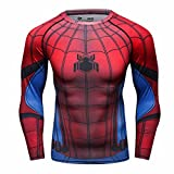 Cody Lundin Homme Spider Héros T-Shirt Collant Manches Longues, Sport Fitness Shirt (M, Rouge-Bleu)
