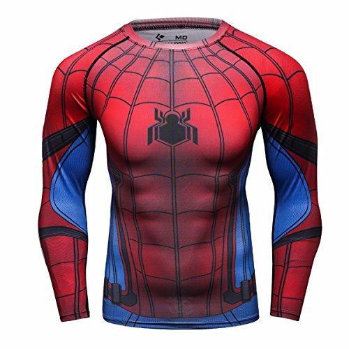 Cody Lundin Hombre de Aptitud de Apretado Culturismo Hombres Manga Larga Camiseta Slim Deporte al Aire Libre t-Shirt (XXL, Spider-c)