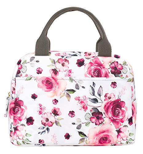 Insulated Lunch Bag for Women Large Capacity, Reusable Cooler Bag Lunch Box, Leakproof Liner Tote with with Zipper Closure/Pockets/Sturdy Handles, Pink Rose Floral by Steel Mill & Co. (Medium)