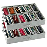 ZNCMRR Under-Bed Shoe Storage Organizers with Adjustable Dividers and Clear Window, Set of 2 Fits 24 Pairs Total Grey (30' X 24' X 5')