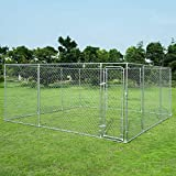 Giantex 15' x 15' Large Outdoor Dog Kennel, Pet Dog Run House with Chain-Link Mesh Sidewalls, Quick-Connect and Solid Steel Frame, Dog Kennel for Training (Dog Kennel, 15 x 15 Feet)