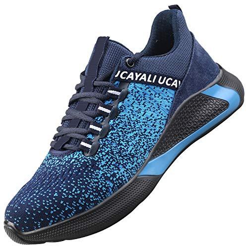 UCAYALI Zapatos de Seguridad Hombre Trabajo Ligeros Antiestaticos ESD Flexibles Calzados de Proteccion Safetoe Comodos Ligeras Zapatillas de Seguridad de Trabajo Anti Deslizante(017 Azul, 43 EU)