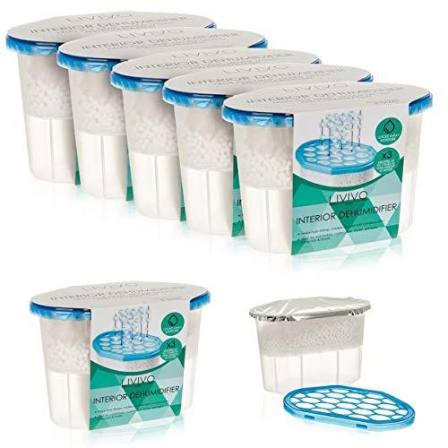 Fineway. Pack of 5 x 500ml Interior Dehumidifiers- Helps Stop Damp, Mildew, Mould Condensation Moisture Absorber Remover in Home Kitchen Wardrobe Bedroom Caravan Office Garage Bathroom, Basement