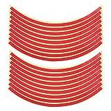 VORCOOL Reflektierende Felgenband Rad Streifen Aufkleber Trim für Motorrad-Auto-Räder 10'-17' (rot)