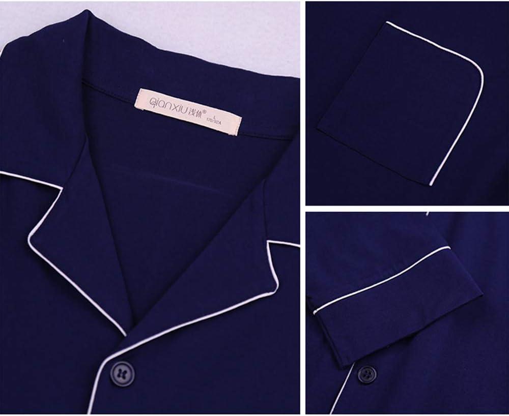 LZJDS Men's Pajama Set Bamboo Fiber Long Sleeve Sleepwear Lightweight Button Down Tops and Pants/Bottoms PJ Set Loungewear,Blue,L
