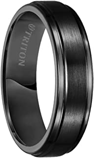 Ring Black Tungsten Carbide Satin Finish Flat Center with Bright Step Edge Comfort Fit Band