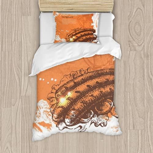 Dachangtui Juego de Cama de poliéster, Vintage Fast Food Background Hand Drawn Illustration Menu Design Juego de 3 Piezas, Funda nórdica Suave, Tela de algodón a Juego, Juego de Dos Camas