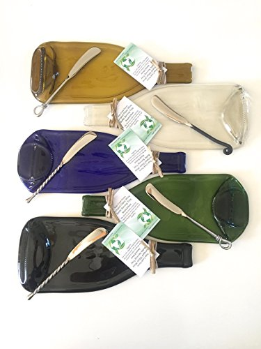5 Piece Set of Recycled Slumped Glass Cheese Platters,Silverware included. (you get all 5 cheese platters.)
