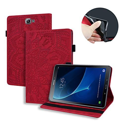 Lspcase Galaxy Tab A6 Tasche Flip Schutzhülle Brieftasche Etui Stand Kartenfächer Stifthalter Hülle für Samsung Galaxy Tab A 2016 10.1 Zoll SM-T580 SM-T585 Rot Mandala Blume Muster