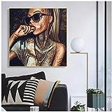 NIEMENGZHEN Druck auf Leinwand Cool Sexy Girl Tattoo Bilder Pop Art Abstrakt Moderne Leinwand Malerei Graffiti Street Frauen Porträt Wandkunst Für Zimmer 80x80cm Kein Rahmen A.