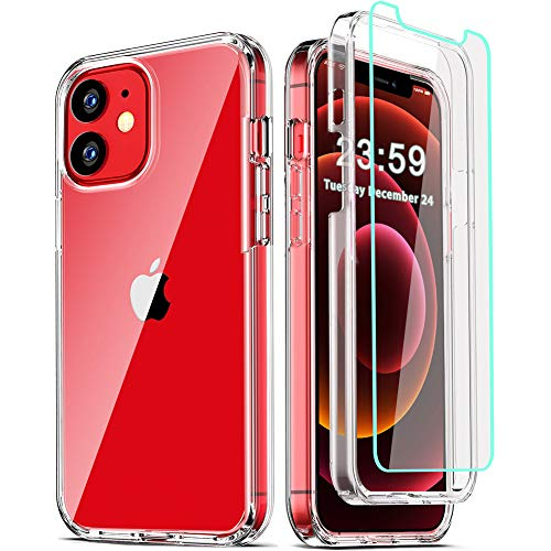 COOLQO Compatible for iPhone 12 /iPhone 12 Pro Case 6.1 Inch, with [2 x Tempered Glass Screen Protector] Clear 360 Full Body Silicone Protective 12 ft Shockproof iPhone 12/12 Pro Cases Phone Cover