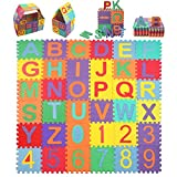 StillCool Tappeto Puzzle per Bambini, 36 Pezzi Quadrati 15cm*15cm Tappetini Puzzle da Gioco Pieghevole Multicolore 26 Lettere,Gomma Eva Resistente Isolante Lavabile