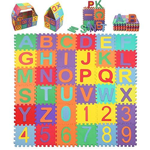StillCool Kinderspielteppich, 15*15cm Kinder Puzzlematte mit Buchstaben von 0 bis 9 36 Stck von A bis Z & Zahlen Puzzlematte Buchstaben Kälteschutz abwaschbar