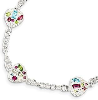 925 Sterling Silver Fancy Lobster Closure Stellux Multi Color Crystal Love Heart Bracelet Jewelry Gifts for Women - 20 Cen...
